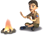 Cub Scout sitting by a camp fire